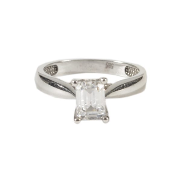 Μονόπετρο Δαχτυλίδι Λευκόχρυσο με Emerald cut Ζιργκόν